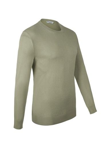 Silk and Cashmere More Tony Modal Ve Pamuklu Yuvarlak Yaka Uzun Kollu Erkek Triko Yeşil